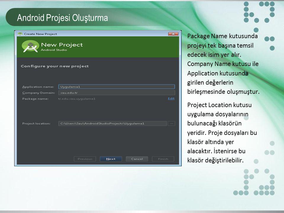 Android Projesi Oluşturma Package Name kutusunda projeyi tek başına temsil edecek isim yer alır. Company Name kutusu ile Application kutusunda girilen