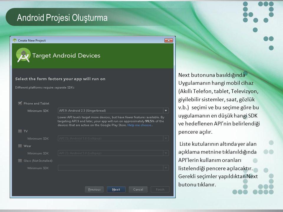 Android Projesi Oluşturma Next butonuna basıldığında Uygulamanın hangi mobil cihaz (Akıllı Telefon, tablet, Televizyon, giyilebilir sistemler, saat, g