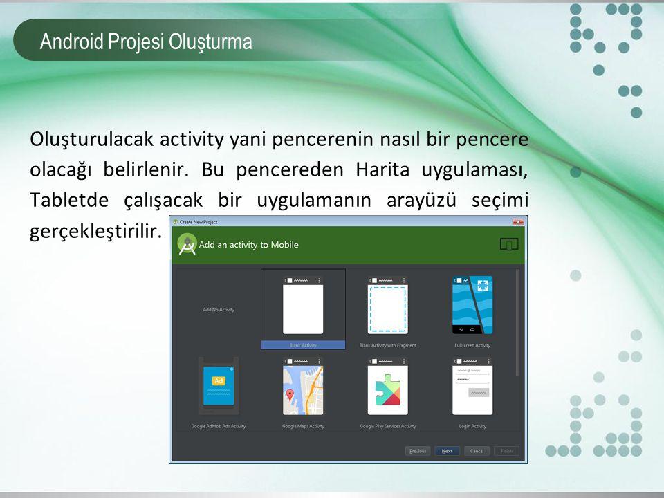 Android Projesi Oluşturma Oluşturulacak activity yani pencerenin nasıl bir pencere olacağı belirlenir. Bu pencereden Harita uygulaması, Tabletde çalış