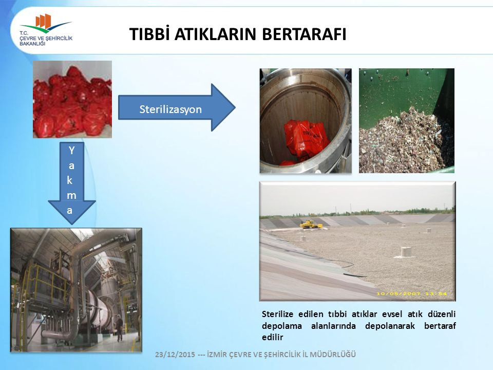 TIBBİ ATIKLARIN BERTARAFI Sterilize edilen tıbbi atıklar evsel atık düzenli depolama alanlarında depolanarak bertaraf edilir Sterilizasyon Y a k m a 2