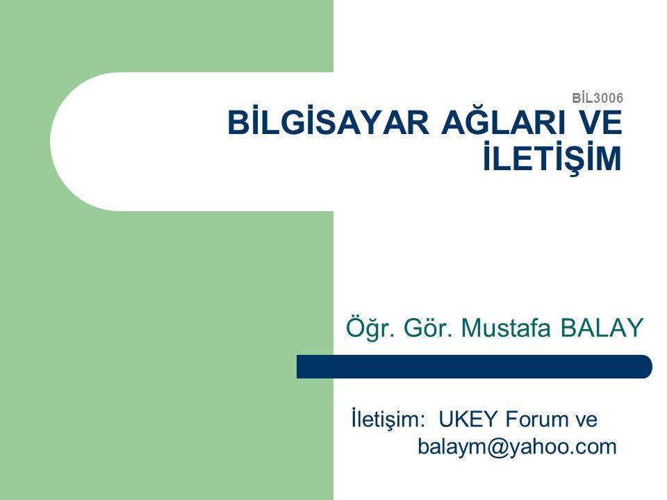 BİL3006 BİLGİSAYAR AĞLARI VE İLETİŞİM Öğr. Gör. Mustafa BALAY İletişim: UKEY Forum ve balaym@yahoo.com