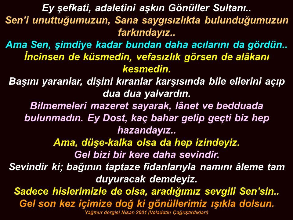 Ey şefkati, adaletini aşkın Gönüller Sultanı..