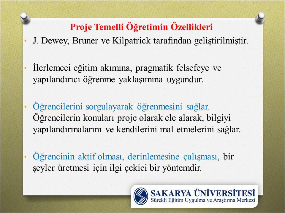 Proje Temelli Öğretimin Özellikleri J. Dewey, Bruner ve Kilpatrick tarafından geliştirilmiştir.