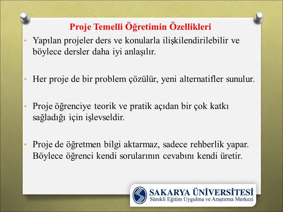 Proje Temelli Öğretimin Aşamaları 1.Hedeflerin belirlenmesi 2.