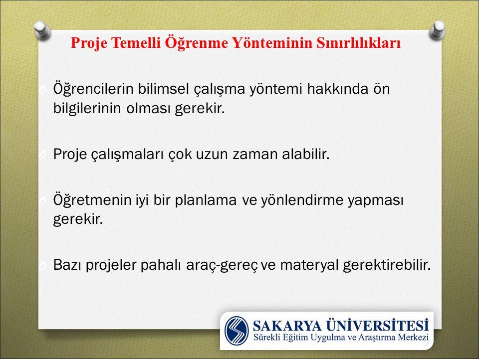 Proje Temelli Öğrenme Yönteminin Sınırlılıkları O Öğrencilerin bilimsel çalışma yöntemi hakkında ön bilgilerinin olması gerekir.
