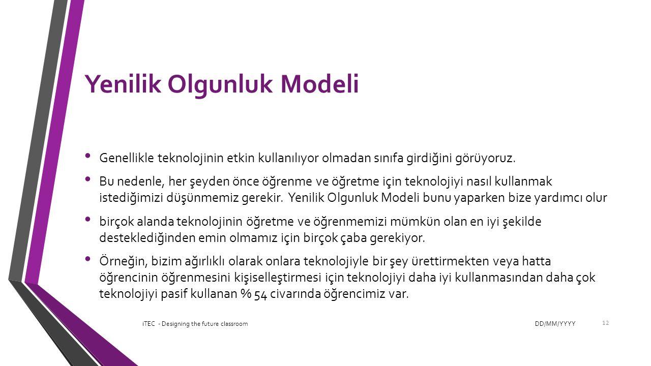 Yenilik Olgunluk Modeli Genellikle teknolojinin etkin kullanılıyor olmadan sınıfa girdiğini görüyoruz. Bu nedenle, her şeyden önce öğrenme ve öğretme