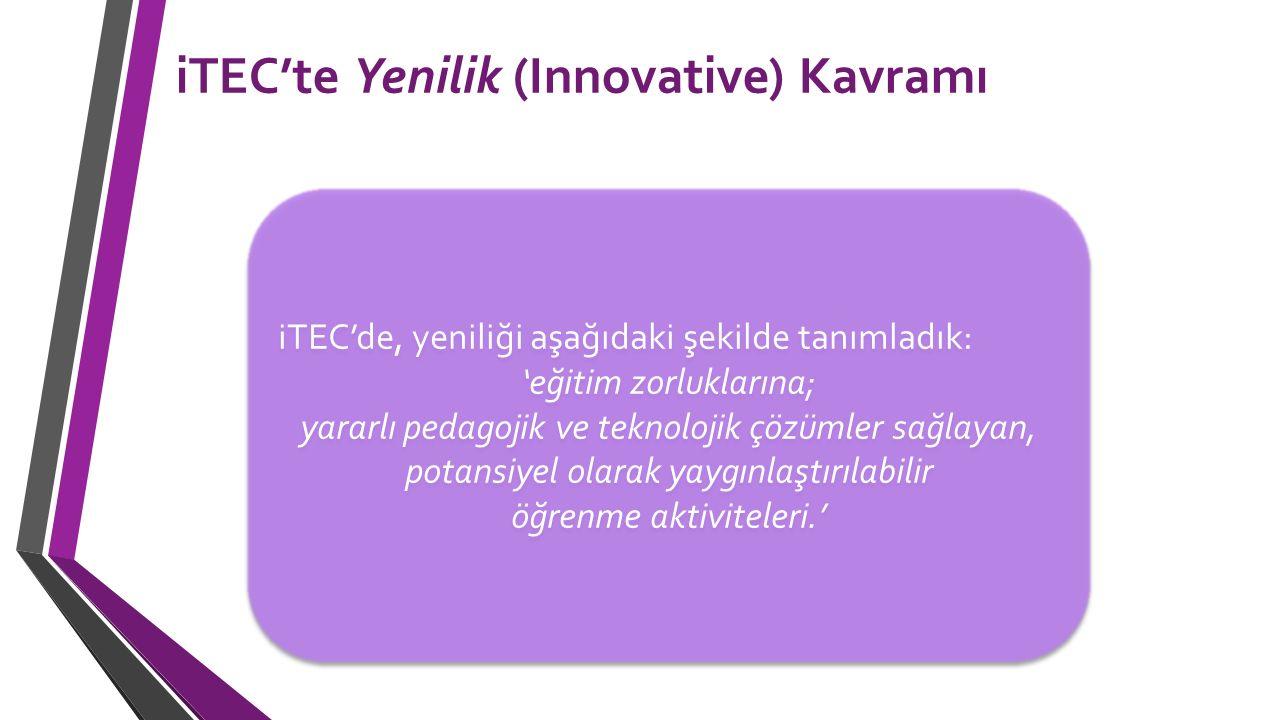 iTEC'te Yenilik (Innovative) Kavramı iTEC'de, yeniliği aşağıdaki şekilde tanımladık: 'eğitim zorluklarına; yararlı pedagojik ve teknolojik çözümler sa