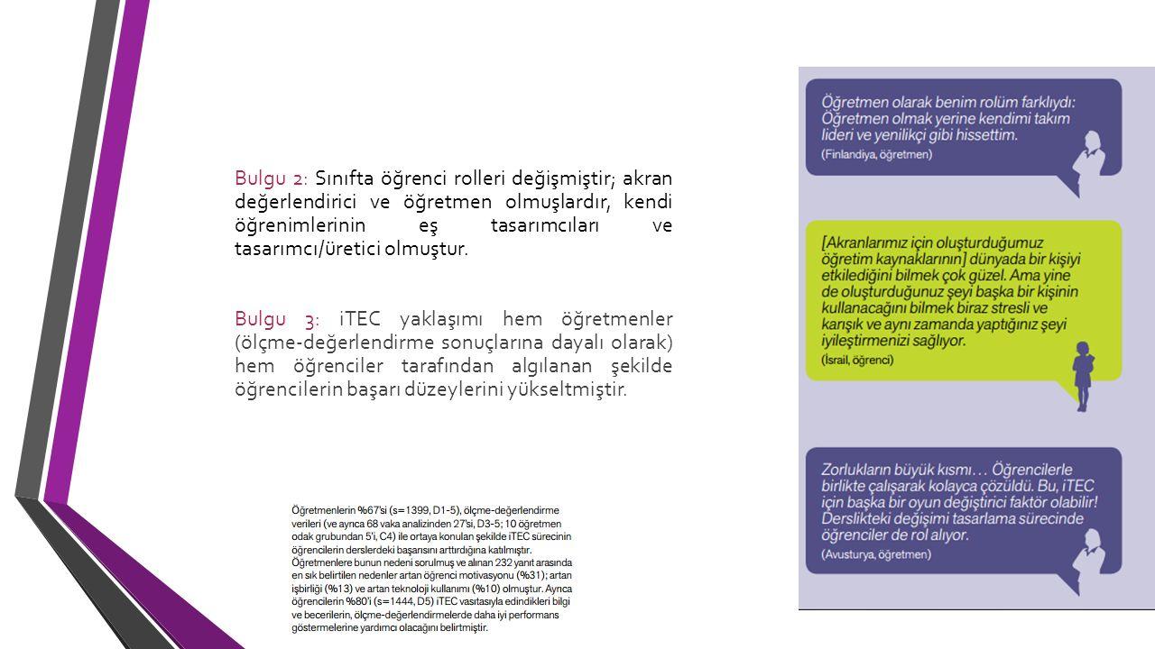 Bulgu 4: iTEC yaklaşımıyla desteklenen sınıf faaliyetlerine katılım öğrencilerin motivasyonunu olumlu etkilemiştir.