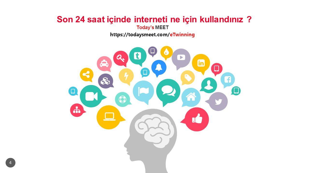 Son 24 saat içinde interneti ne için kullandınız ? Today's MEET https://todaysmeet.com/eTwinning 4