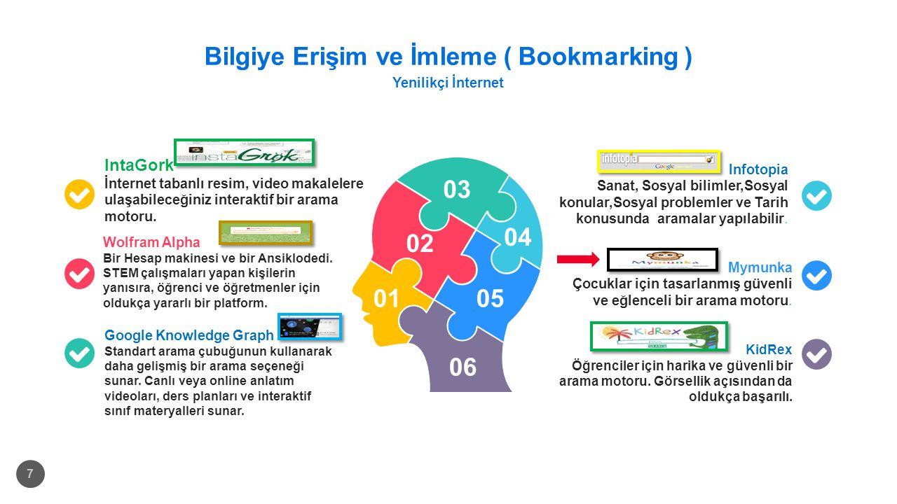 Bilgiye Erişim ve İmleme ( Bookmarking ) Yenilikçi İnternet 7 IntaGork İnternet tabanlı resim, video makalelere ulaşabileceğiniz interaktif bir arama