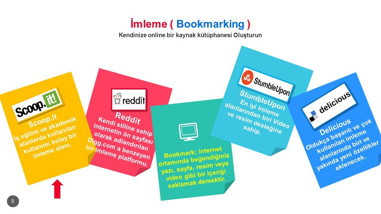 İmleme ( Bookmarking ) Kendinize online bir kaynak kütüphanesi Oluşturun 8 Scoop.it İş eğitim ve akademik alanlarda kullanılan kullanımı kolay bir imleme alanı.