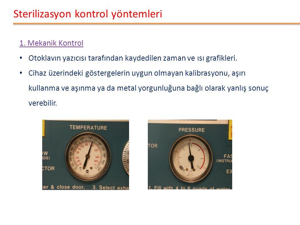 Sterilizasyon kontrol yöntemleri 1. Mekanik Kontrol Otoklavın yazıcısı tarafından kaydedilen zaman ve ısı grafikleri. Cihaz üzerindeki göstergelerin u
