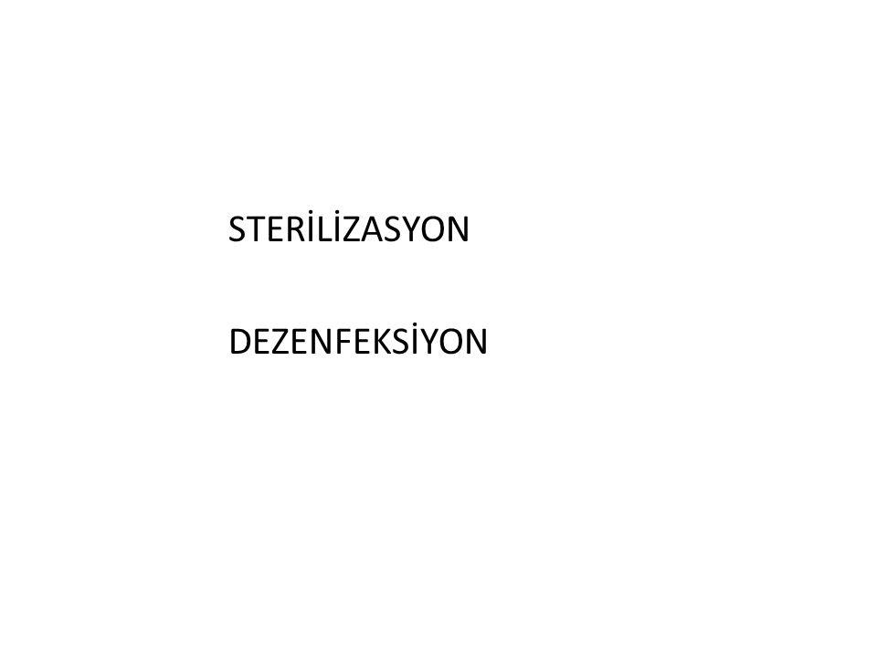Sterilizasyon Yöntemleri III-KİMYASAL MADDELERLE STERİLİZASYON 2- Kimyasal sıvılarla sterilizasyon - Sporisit aktivitesi olan kimyasal çözeltiler (% 2 glutaraldehit, % 0.55 ortofitalaldehit, % 7.5 hidrojen peroksit, % 0.2-0.3 perasetik asit, klordioksit…) içerisinde dezenfeksiyon için gerekenden daha uzun sürede ısıya duyarlı aletler steril edilebilirler.