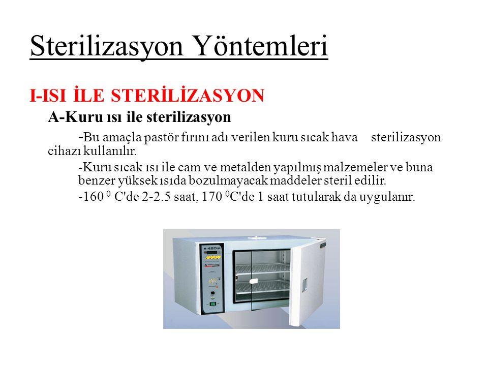 Sterilizasyon Yöntemleri I-ISI İLE STERİLİZASYON A-Kuru ısı ile sterilizasyon - Bu amaçla pastör fırını adı verilen kuru sıcak hava sterilizasyon cihazı kullanılır.