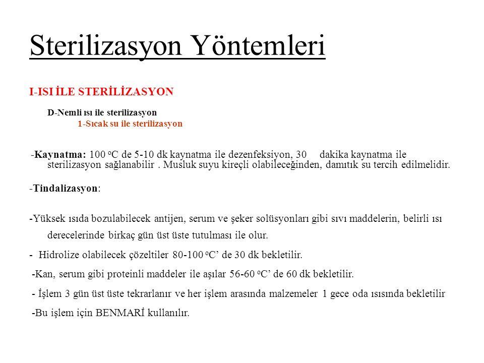 Sterilizasyon Yöntemleri I-ISI İLE STERİLİZASYON D-Nemli ısı ile sterilizasyon 1-Sıcak su ile sterilizasyon -Kaynatma: 100 o C de 5-10 dk kaynatma ile