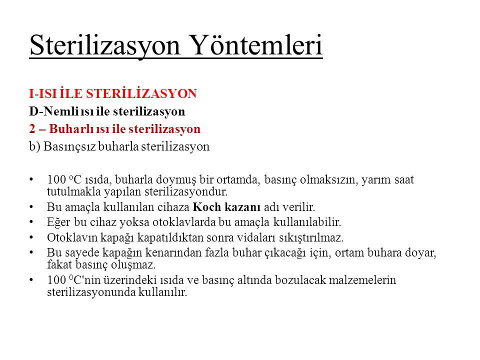 Sterilizasyon Yöntemleri I-ISI İLE STERİLİZASYON D-Nemli ısı ile sterilizasyon 2 – Buharlı ısı ile sterilizasyon b) Basınçsız buharla sterilizasyon 10