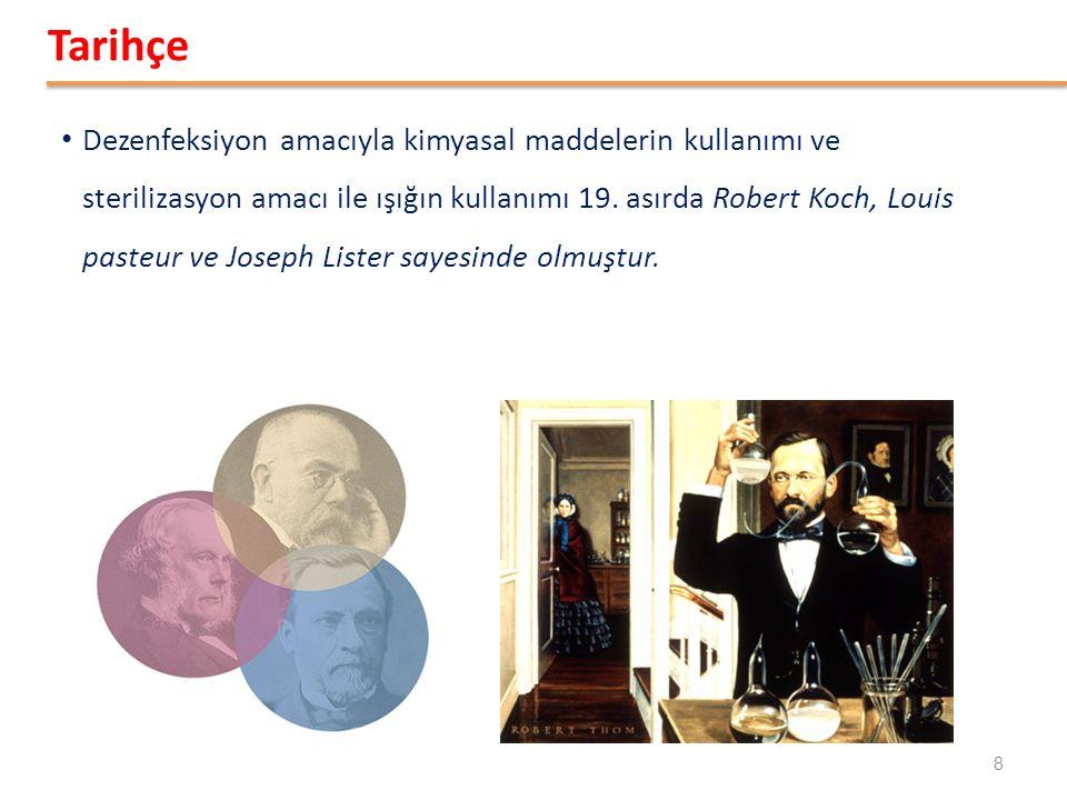 Dezenfeksiyon amacıyla kimyasal maddelerin kullanımı ve sterilizasyon amacı ile ışığın kullanımı 19. asırda Robert Koch, Louis pasteur ve Joseph Liste