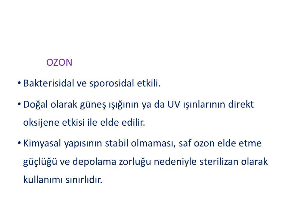 OZON Bakterisidal ve sporosidal etkili.