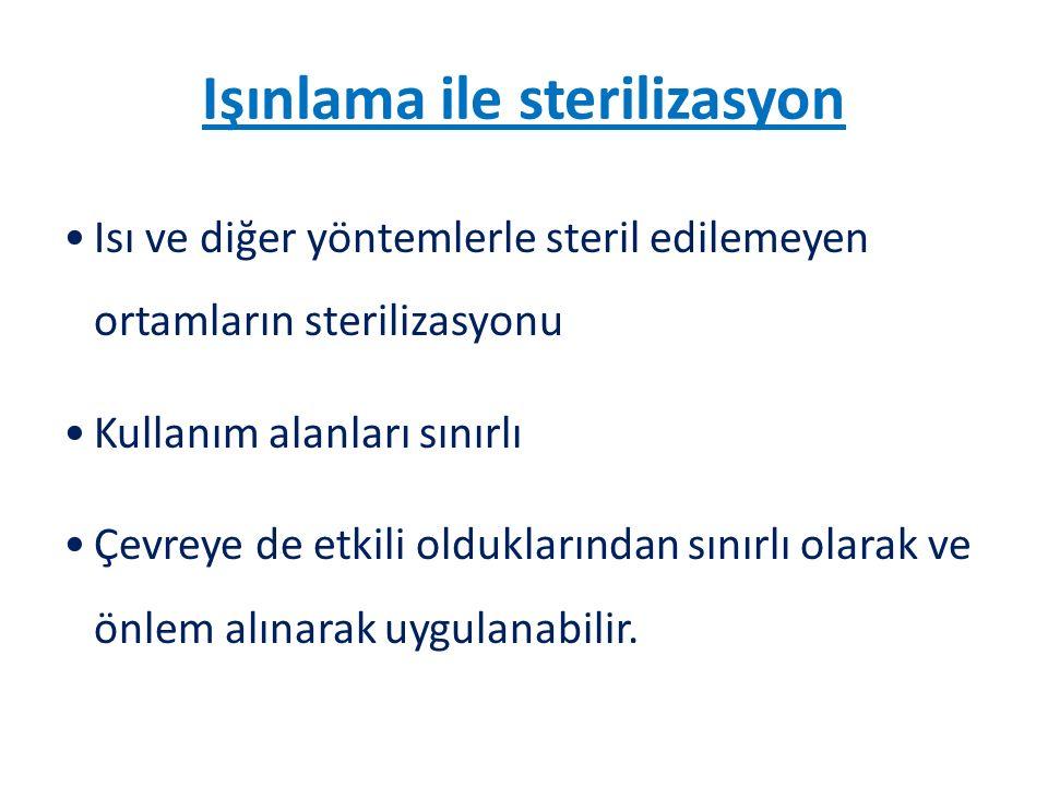Işınlama ile sterilizasyon Isı ve diğer yöntemlerle steril edilemeyen ortamların sterilizasyonu Kullanım alanları sınırlı Çevreye de etkili olduklarından sınırlı olarak ve önlem alınarak uygulanabilir.