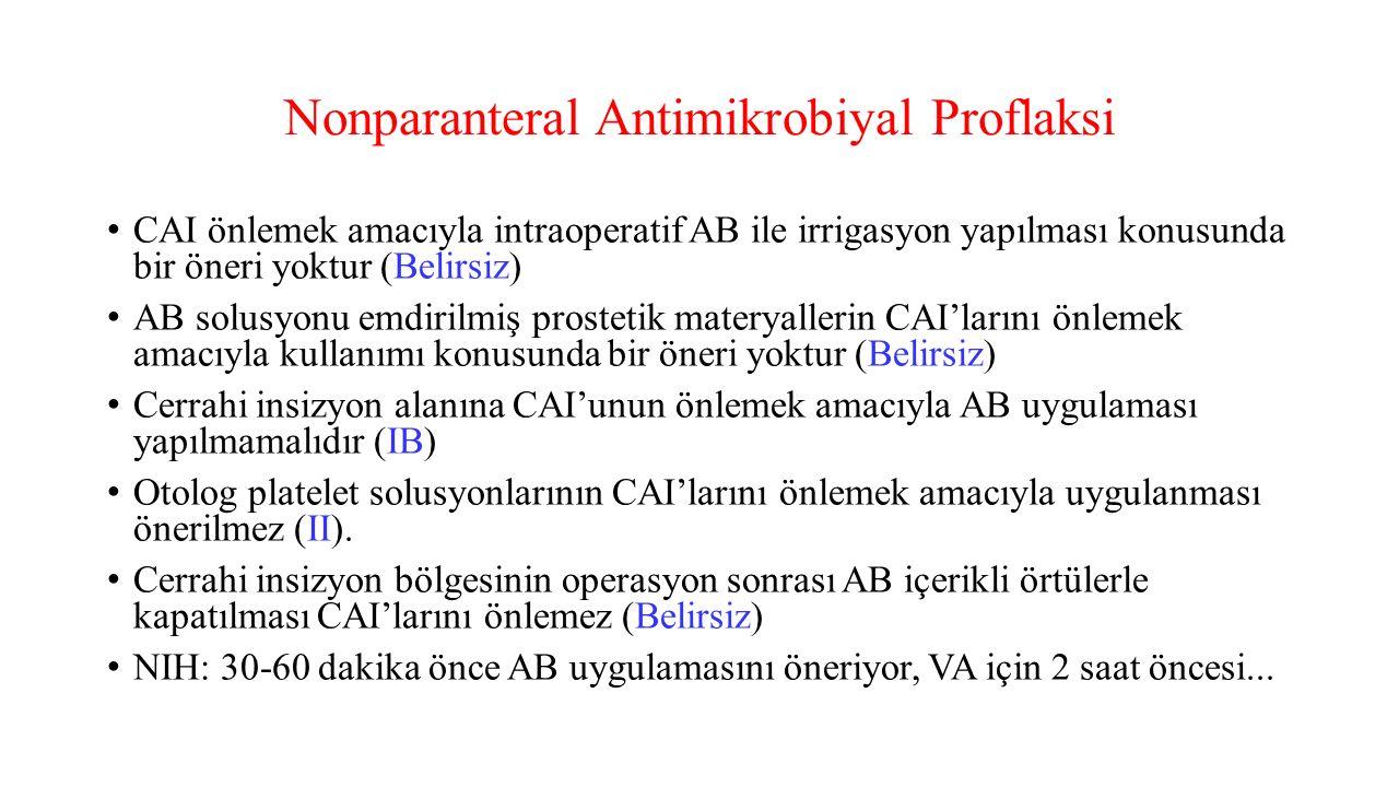 Nonparanteral Antimikrobiyal Proflaksi CAI önlemek amacıyla intraoperatif AB ile irrigasyon yapılması konusunda bir öneri yoktur (Belirsiz) AB solusyo