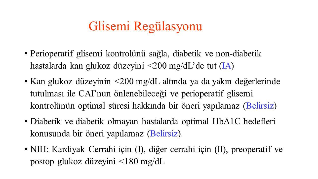 Glisemi Regülasyonu Perioperatif glisemi kontrolünü sağla, diabetik ve non-diabetik hastalarda kan glukoz düzeyini <200 mg/dL'de tut (IA) Kan glukoz d