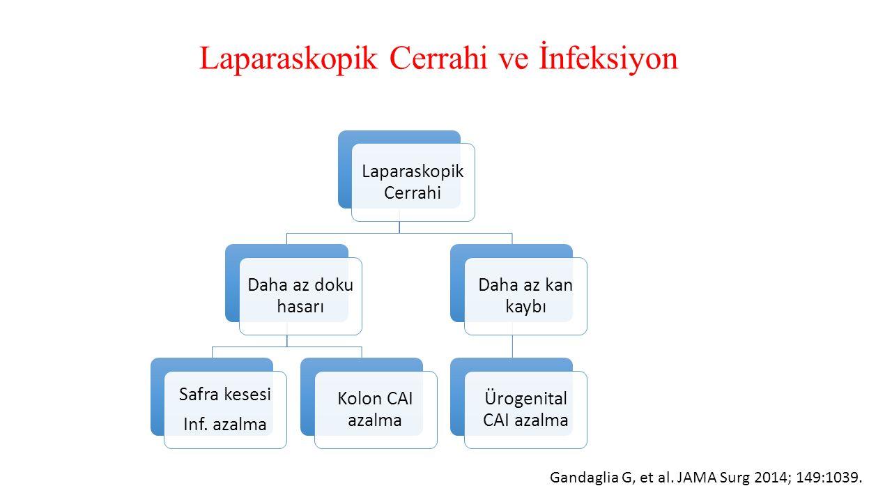 Laparaskopik Cerrahi ve İnfeksiyon Laparaskopik Cerrahi Daha az doku hasarı Safra kesesi Inf. azalma Kolon CAI azalma Daha az kan kaybı Ürogenital CAI