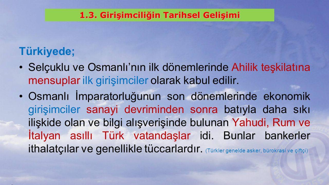 Türkiyede; Selçuklu ve Osmanlı'nın ilk dönemlerinde Ahilik teşkilatına mensuplar ilk girişimciler olarak kabul edilir.