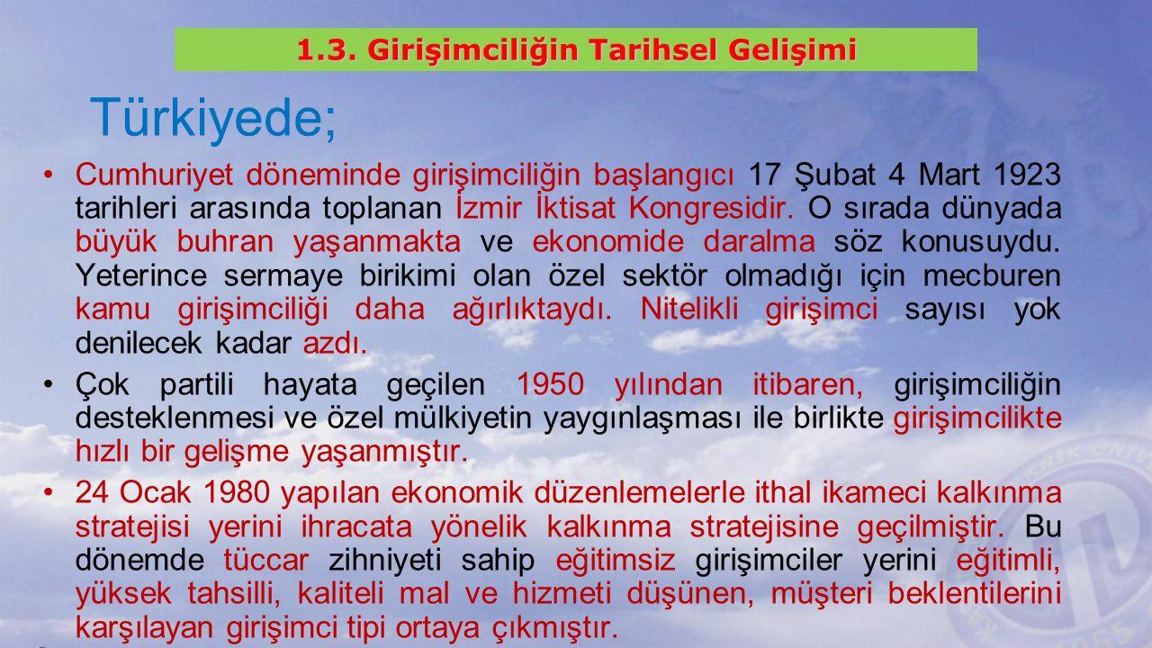 Türkiyede; Cumhuriyet döneminde girişimciliğin başlangıcı 17 Şubat 4 Mart 1923 tarihleri arasında toplanan İzmir İktisat Kongresidir.