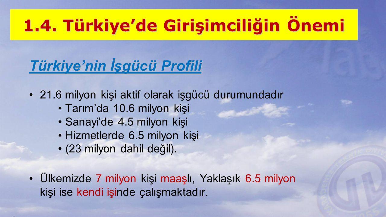 1.4. Türkiye'de Girişimciliğin Önemi Türkiye'nin İşgücü Profili 21.6 milyon kişi aktif olarak işgücü durumundadır Tarım'da 10.6 milyon kişi Sanayi'de