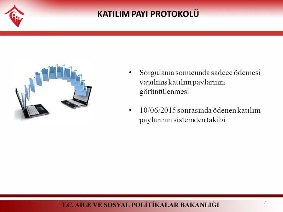 KATILIM PAYI PROTOKOLÜ Sorgulama sonucunda sadece ödemesi yapılmış katılım paylarının görüntülenmesi 10/06/2015 sonrasında ödenen katılım paylarının s
