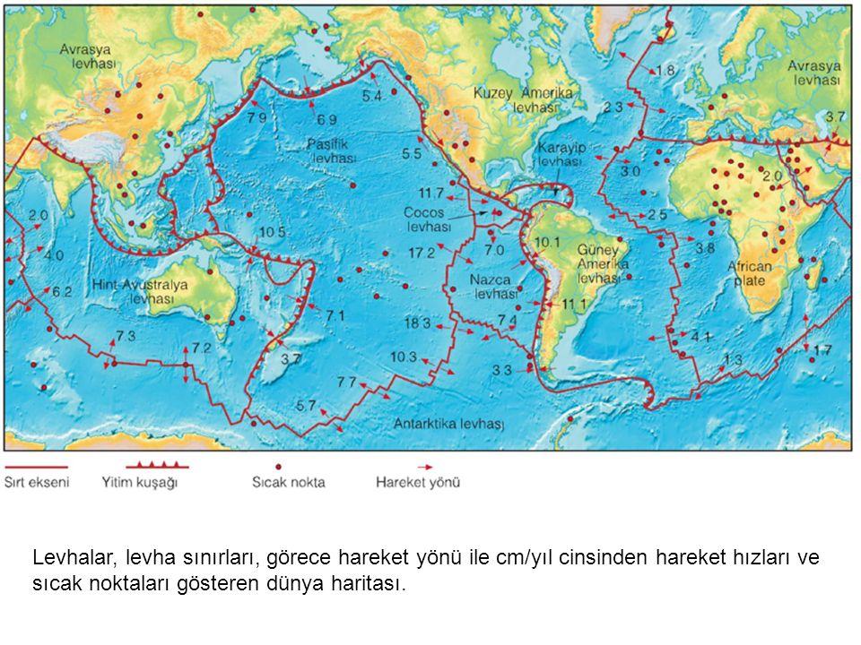 Levhalar, levha sınırları, görece hareket yönü ile cm/yıl cinsinden hareket hızları ve sıcak noktaları gösteren dünya haritası.