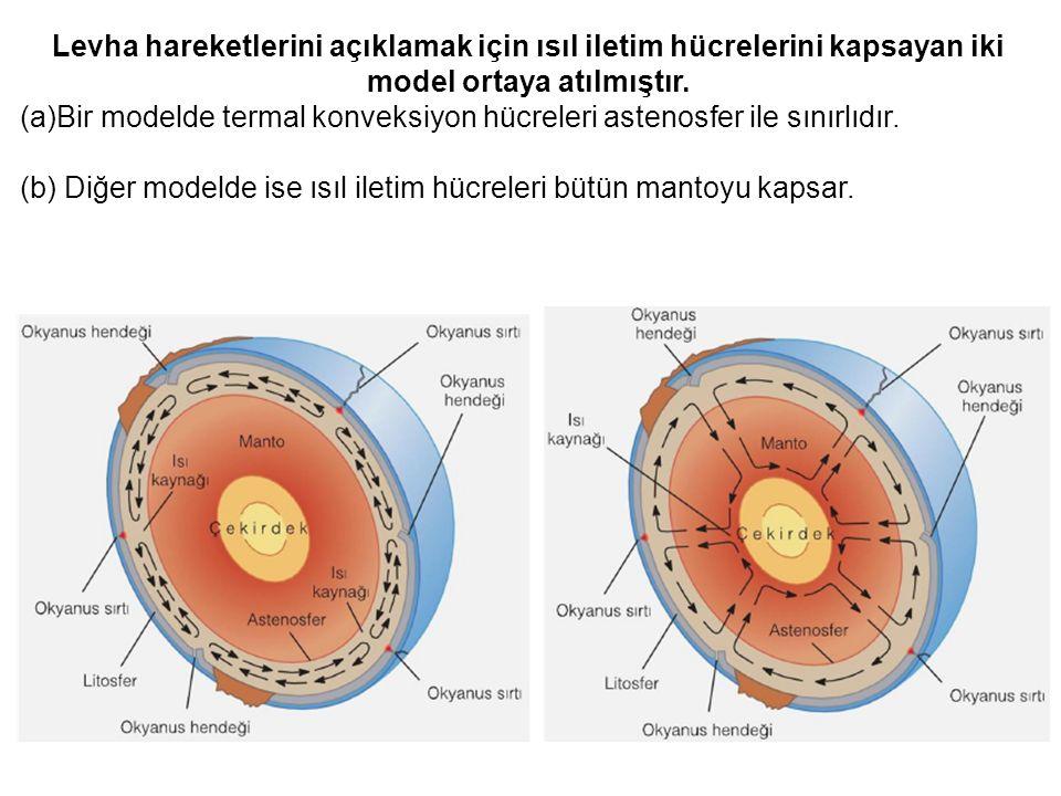 Levha hareketlerini açıklamak için ısıl iletim hücrelerini kapsayan iki model ortaya atılmıştır. (a)Bir modelde termal konveksiyon hücreleri astenosfe