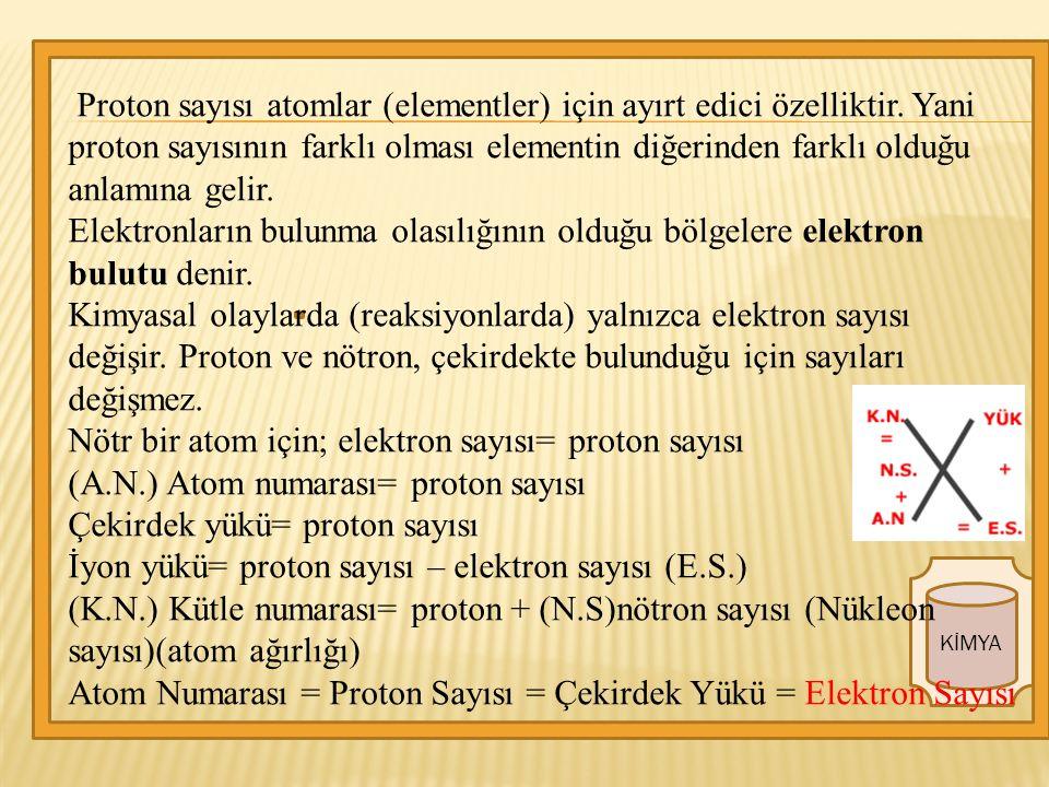KİMYA Proton sayısı atomlar (elementler) için ayırt edici özelliktir.