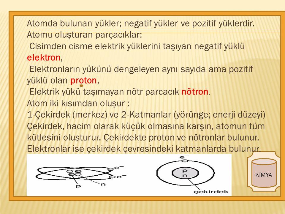 KİMYA Atomda bulunan yükler; negatif yükler ve pozitif yüklerdir.