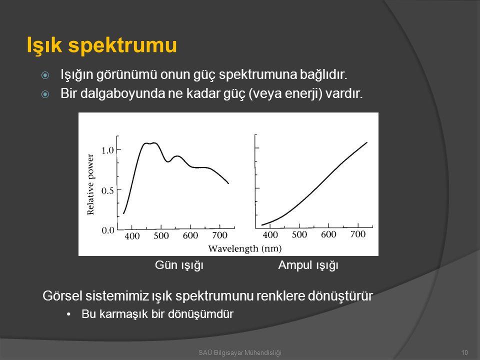Işık spektrumu  Işığın görünümü onun güç spektrumuna bağlıdır.  Bir dalgaboyunda ne kadar güç (veya enerji) vardır. Gün ışığıAmpul ışığı Görsel sist