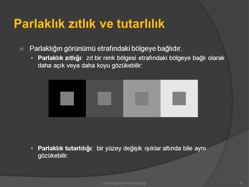 Parlaklık zıtlık ve tutarlılık  Parlaklığın görünümü etrafındaki bölgeye bağlıdır. Parlaklık zıtlığı: zıt bir renk bölgesi etrafındaki bölgeye bağlı