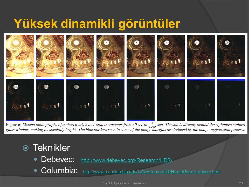 Yüksek dinamikli görüntüler  Teknikler Debevec: http://www.debevec.org/Research/HDR/ http://www.debevec.org/Research/HDR/ Columbia: http://www.cs.col
