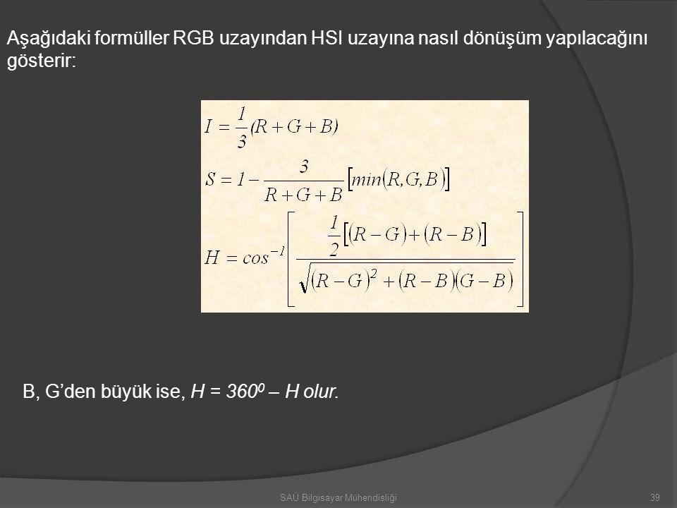 Aşağıdaki formüller RGB uzayından HSI uzayına nasıl dönüşüm yapılacağını gösterir: B, G'den büyük ise, H = 360 0 – H olur. SAÜ Bilgisayar Mühendisliği