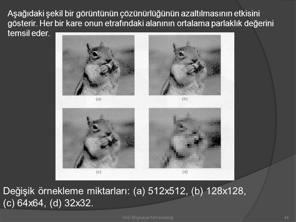 Değişik örnekleme miktarları: (a) 512x512, (b) 128x128, (c) 64x64, (d) 32x32. Aşağıdaki şekil bir görüntünün çözünürlüğünün azaltılmasının etkisini gö