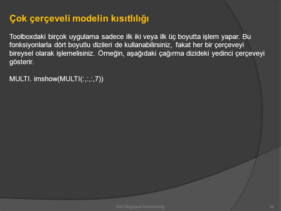 Çok çerçeveli modelin kısıtlılığı Toolboxdaki birçok uygulama sadece ilk iki veya ilk üç boyutta işlem yapar. Bu fonksiyonlarla dört boyutlu dizileri