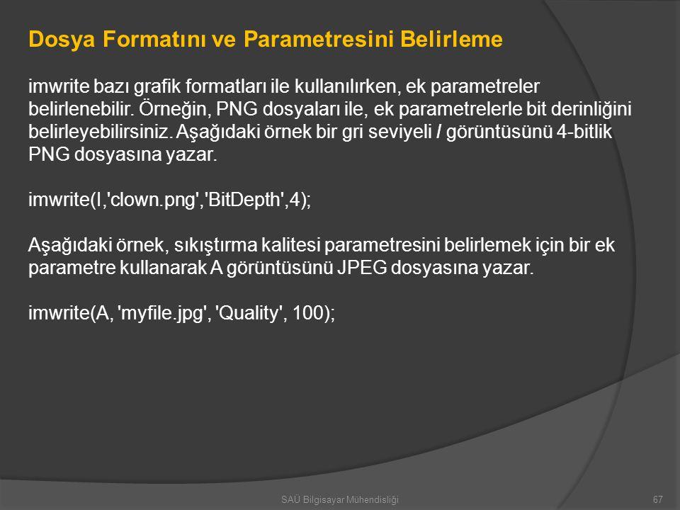 Dosya Formatını ve Parametresini Belirleme imwrite bazı grafik formatları ile kullanılırken, ek parametreler belirlenebilir. Örneğin, PNG dosyaları il