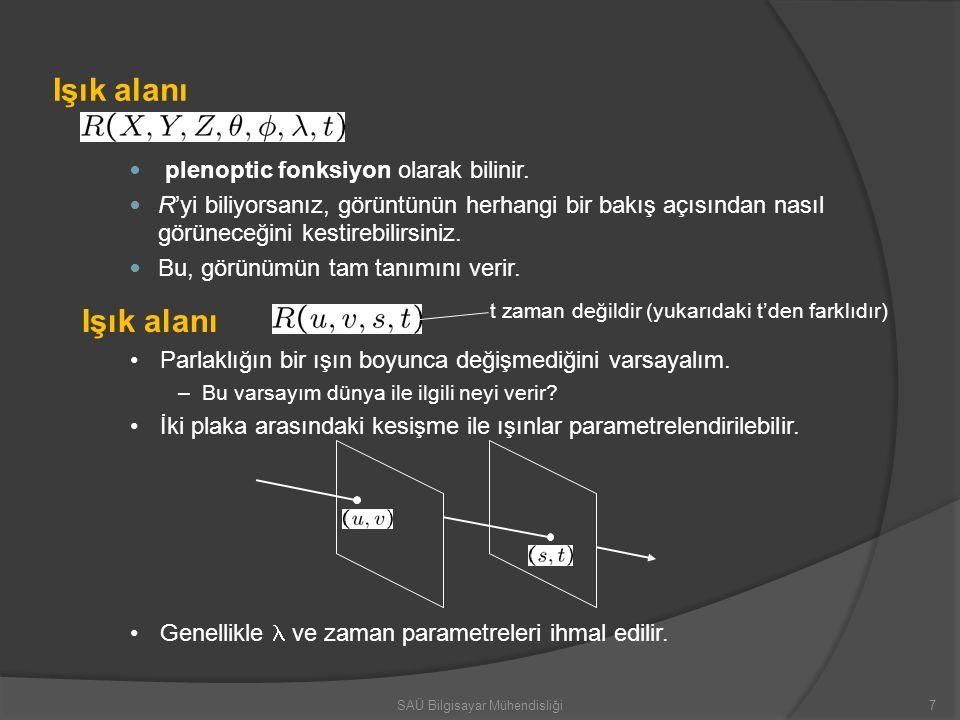 Işık alanı plenoptic fonksiyon olarak bilinir. R'yi biliyorsanız, görüntünün herhangi bir bakış açısından nasıl görüneceğini kestirebilirsiniz. Bu, gö