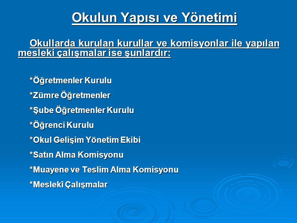 Okulun Yapısı ve Yönetimi Okullarda kurulan kurullar ve komisyonlar ile yapılan mesleki çalışmalar ise şunlardır: *Öğretmenler Kurulu *Zümre Öğretmenl