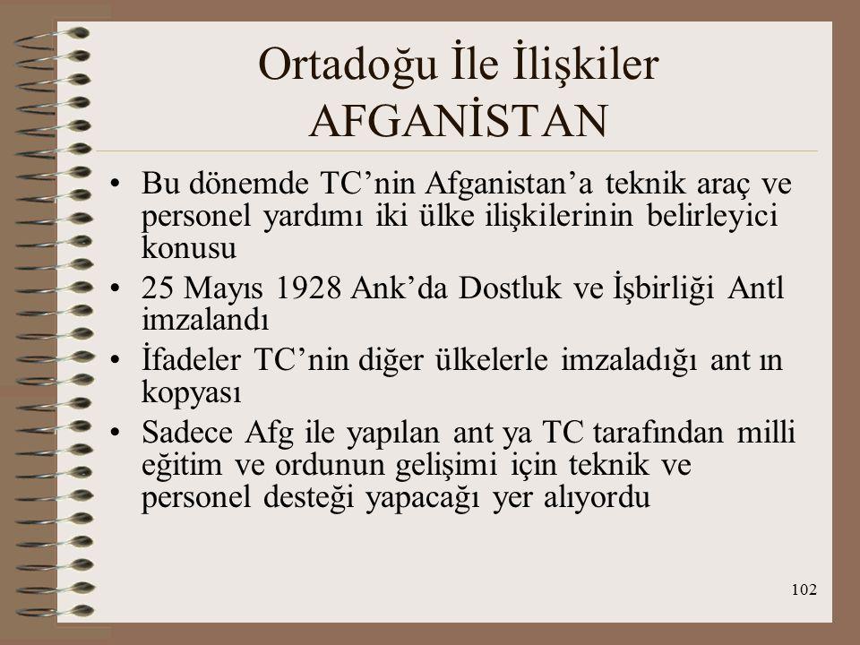 103 Ortadoğu İle İlişkiler AFGANİSTAN Afganistan'daki karışıklıkların bastırılmasına Türk Ordusu destek vermiştir, Amanullah Han'ın yerine göreve gelen Habibullah Han TC'yi eski yönetimin destekçisi gördüğünden Türk personeli sınır dışı etti, O'nun yerine kısa süre sonra gelen Nadir Şah eski politikayı devam ettirdi ve Türk personeli geri çağırdı, ( 1,5 yıl içinde 5 Şah) II.