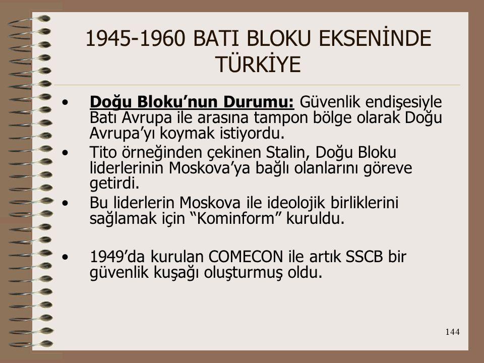 145 1945-1960 BATI BLOKU EKSENİNDE TÜRKİYE Batı Bloku'nun Durumu: ABD: amacı, SSCB'ye Batı Avrupa'yı kaptırmamaktı.