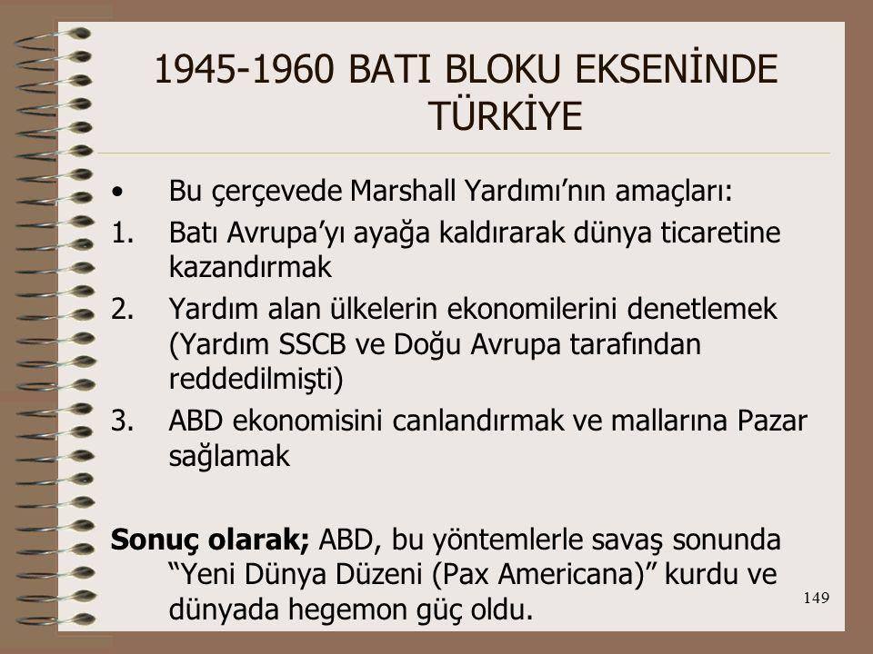 150 1945-1960 BATI BLOKU EKSENİNDE TÜRKİYE Türkiye ve Mashall Planı; TC, Marshall planı çerçevesinde 1948-1952 arasında 352.000.000 dolar yardım almıştır.