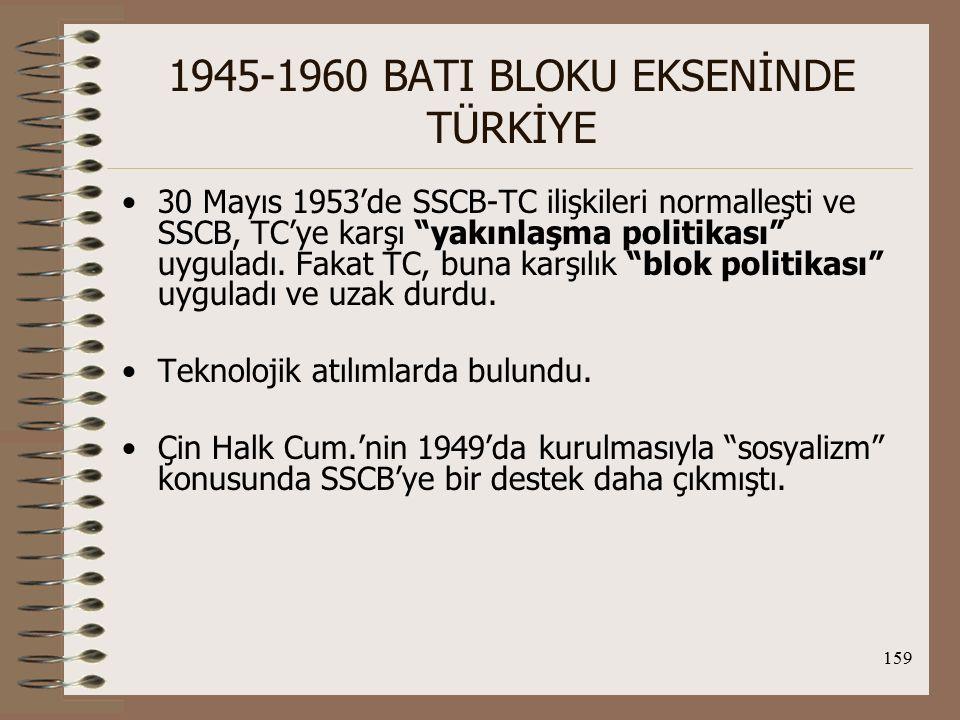 160 1945-1960 BATI BLOKU EKSENİNDE TÜRKİYE Diğer bir önemli gelişme de 8 sosyalist devletin (SSCB, Bulgaristan, Çekoslovakya, Doğu Almanya, Macaristan, Polonya, Romanya ve Arnavutluk) 1955'de imzaladığı Varşova Paktı'dır.