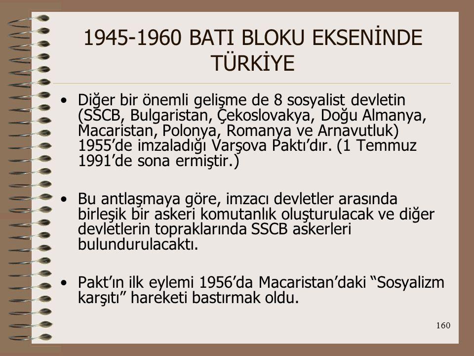 161 1945-1960 BATI BLOKU EKSENİNDE TÜRKİYE TC, blok politikası kapsamında; ABD'ye üslerini açtı, ABD'nin çevreleme politikasına katıldı, Suriye ve Irak bunalımlarında ABD'nin yanında yer aldı,
