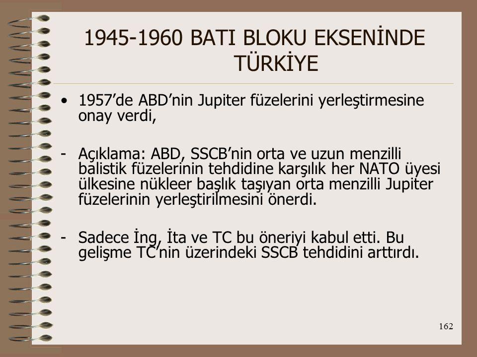 163 1945-1960 BATI BLOKU EKSENİNDE TÜRKİYE 1960'da SSCB'nin U-2 Casus uçağını düşüren ABD uçağı TC'den havalandığı için TC-SSCB arasında nota krizi yaşandı.