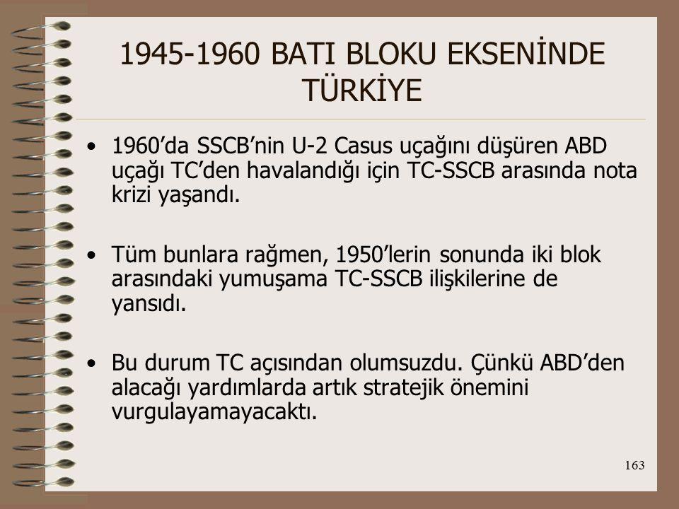 164 1945-1960 BATI BLOKU EKSENİNDE TÜRKİYE Boğazlar üzerinde ABD-SSCB Rekabeti: Boğazlar, stratejik öneminden dolayı dönemin iki büyük gücünü karşı karşıya getiriyordu.